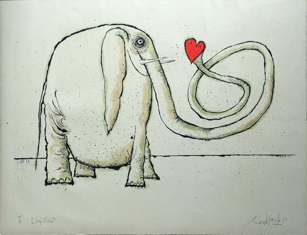 Ronald                       Searle Lithograph - The Loving Elephant
